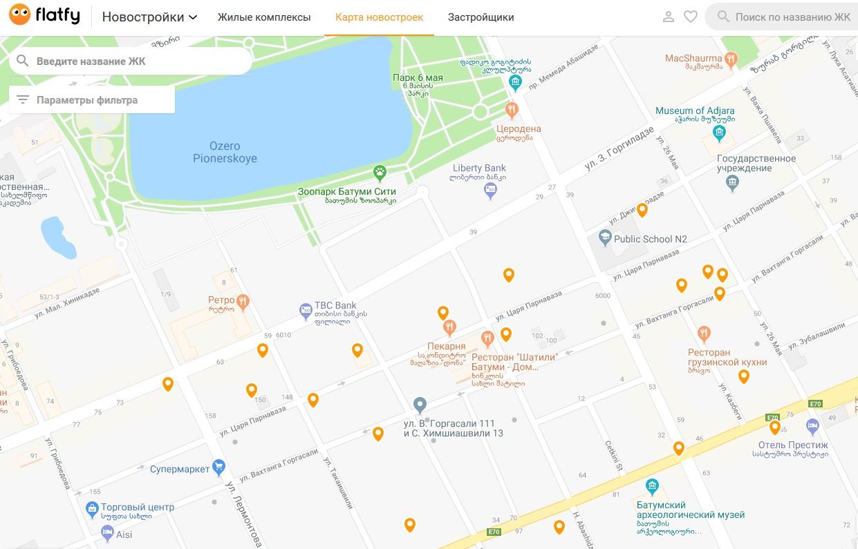 Портал New.flatfy.ge - поиск новостройки по карте
